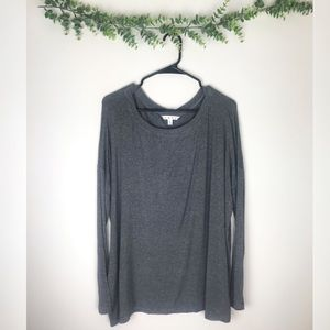 CAbi Oversized Long Sleeve Gray Tee